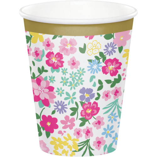 "Club Pack of 96 Pink and Green Floral Printed Tea Party Cups 3.75"" - IMAGE 1"