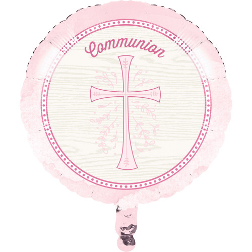 """Pack of 10 Cotton White and Pink Cross """"Communion"""" Divinity Mylar Balloons 18"""" - IMAGE 1"""