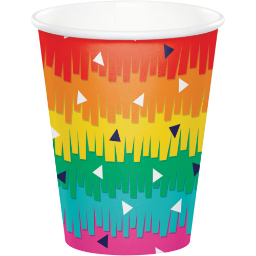Club Pack of 96 Red and Green Fiesta Fun Party Cups 9 oz. - IMAGE 1