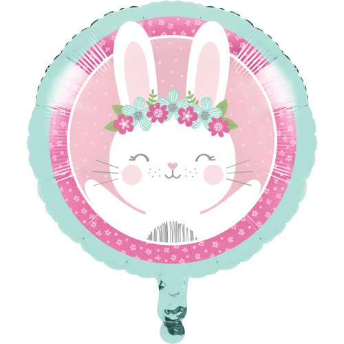 """Pack of 10 Pink and Teal Blue Bunny Party Mylar Balloons 18"""" - IMAGE 1"""