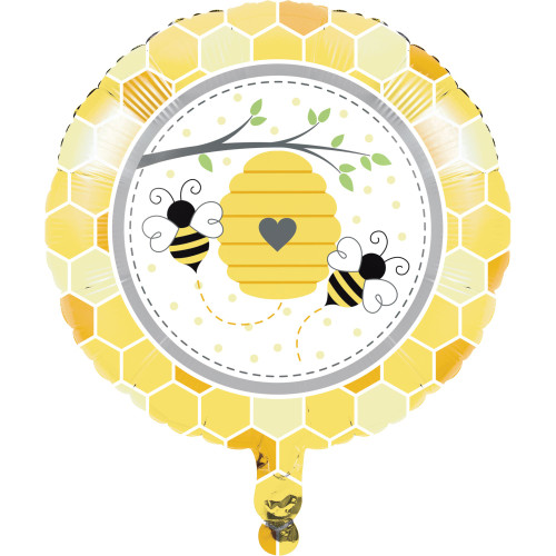"""Pack of 10 Yellow and White Bumblebee Baby Mylar Balloons 18"""" - IMAGE 1"""