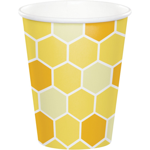 Club Pack of 96 Yellow and White Bumblebee Baby Cups 9 oz. - IMAGE 1