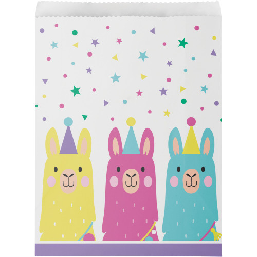 """Club Pack of 120 White and Pink Llama Printed Large Treat Bags 8.75"""" - IMAGE 1"""