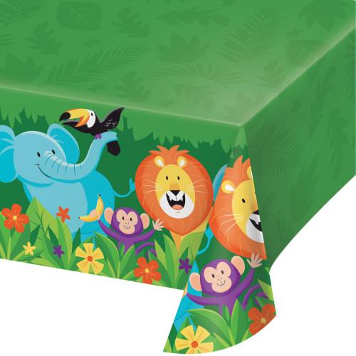 "Pack of 6 Green and Blue Jungle Safari Rectangular Tablecloths 102"" - IMAGE 1"