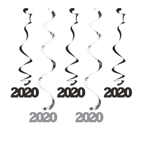 """Club Pack of 60 Black and Silver """"2020"""" Dizzy Danglers 24"""" - IMAGE 1"""