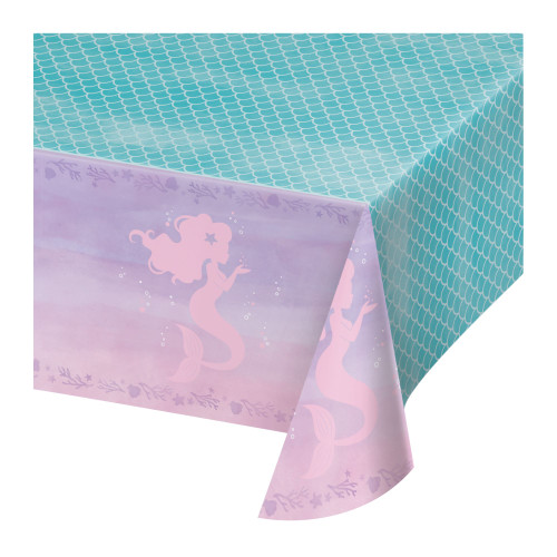 """Pack of 6 Blue and Purple Mermaid Theme Rectangular Tablecloths 102"""" - IMAGE 1"""
