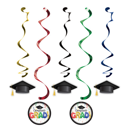 """Club Pack of 60 Black and Green Graduation Dizzy Danglers 39"""" - IMAGE 1"""