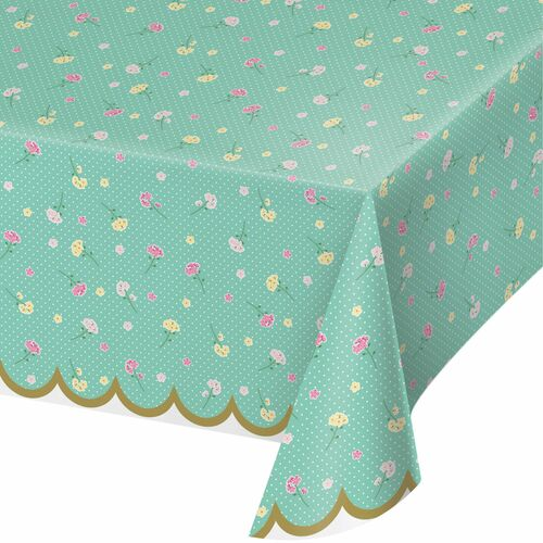 """Set of 6 Green and Yellow Floral Tablecloth 102"""" - IMAGE 1"""