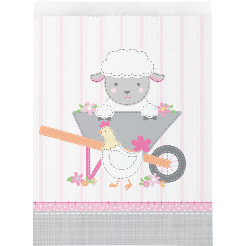 """Club Pack of 120 Pink and Gray Farmhouse Themed Large Treat Bags 8.75"""" - IMAGE 1"""