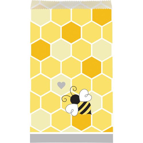 """Club Pack of 120 Yellow and Gray Hexagon Print Bumblebee Baby Treat Bag 7.75"""" - IMAGE 1"""