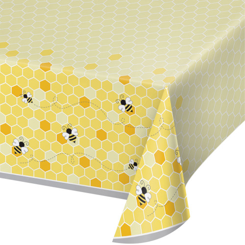 """Pack of 6 Yellow and Black Bumblebee Baby Rectangular Tablecloths 102"""" - IMAGE 1"""