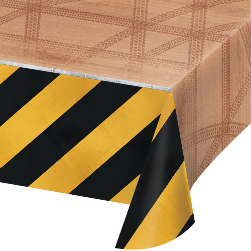 """Pack of 6 Brown and Yellow Big Dig Construction Rectangular Tablecloths 102"""" - IMAGE 1"""