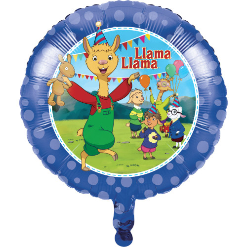 "Pack of 10 Cobalt Blue and Green Cartoon ""Llama Llama"" Mylar Balloons 18"" - IMAGE 1"
