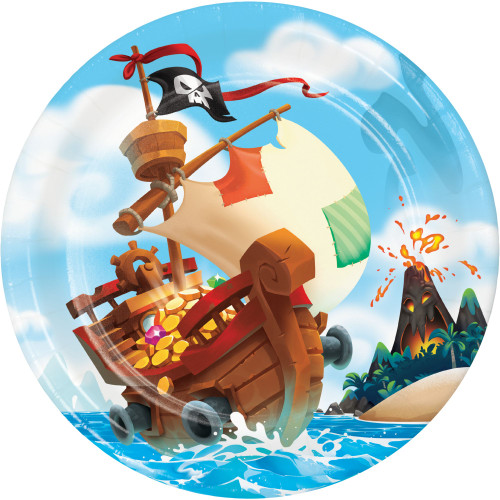 """Club Pack of 96 Brown and Red Pirate Treasure Round Plates 8.8"""" - IMAGE 1"""