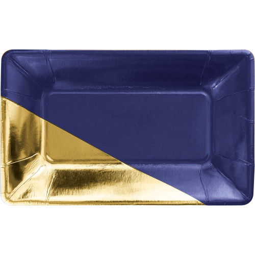 """Club Pack of 48 Navy Blue and Gold Foil Rectangular Plates 9"""" - IMAGE 1"""