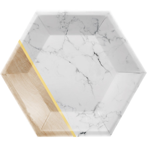 """Club Pack of 48 Gold and White Marble Banquet Hexagon Plates 9"""" - IMAGE 1"""