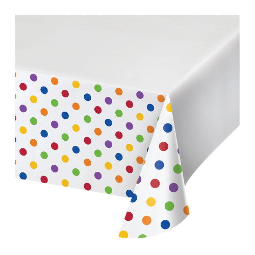 """Club Pack of 12 White and Yellow Polka Dots Rectangular Tablecloths 102"""" - IMAGE 1"""