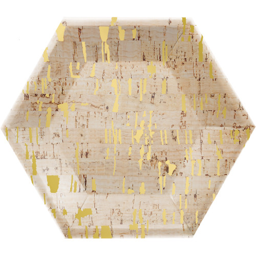 """Club Pack of 48 Gold and Yellow Cork Dessert Hexagon Plates 9"""" - IMAGE 1"""