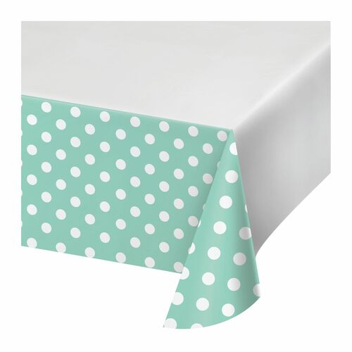 """Club Pack of 12 Green and White Polka Dots Rectangular Tablecloths 102"""" - IMAGE 1"""