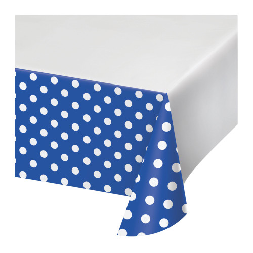 """Club Pack of 12 Blue and White Polka Dots Rectangular Tablecloths 102"""" - IMAGE 1"""