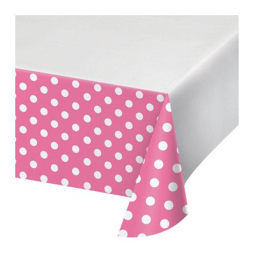 "Club Pack of 12 Pink and White Polka Dotted Rectangular Tablecloths 102"" - IMAGE 1"