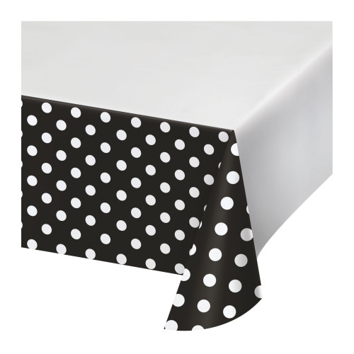 """Club Pack of 12 Black and White Polka Dotted Rectangular Tablecloths 102"""" - IMAGE 1"""