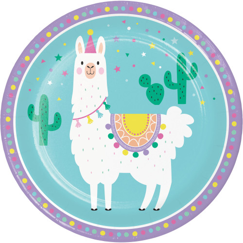 """Club Pack of 96 Mint Green and White LLAMA Printed Dessert Plates 8.8"""" - IMAGE 1"""