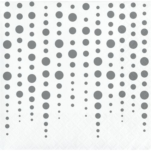 """Club Pack of 192 Silver and White Polka Doted Square Beverage 2-Ply Luncheon Napkins 10"""" - IMAGE 1"""