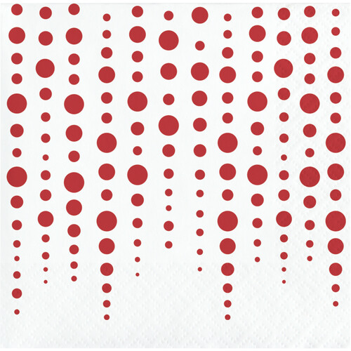 """Club Pack of 192 Red and White Polka Doted Square Beverage 2-Ply Luncheon Napkins 10"""" - IMAGE 1"""