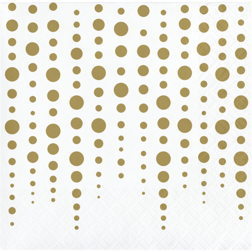 """Club Pack of 192 Gold and White Polka Doted Square Beverage 2-Ply Luncheon Napkins 10"""" - IMAGE 1"""