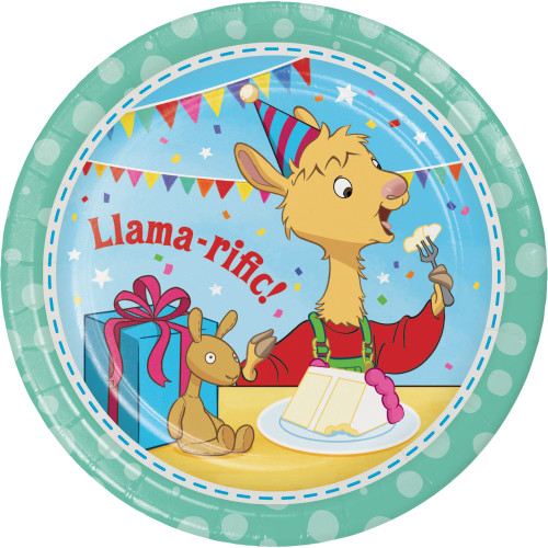 """Club Pack of 96 Blue and Brown Round """"Llama-rific!"""" Dessert Plates 6.75"""" - IMAGE 1"""