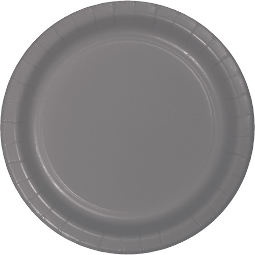 """Club Pack of 240 Gray Solid Dessert Plates 7"""" - IMAGE 1"""