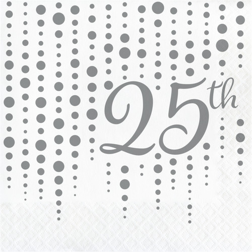 """Club Pack of 192 Silver and White """"25th"""" Printed Square 2-Ply Luncheon Napkins 12.75"""" - IMAGE 1"""