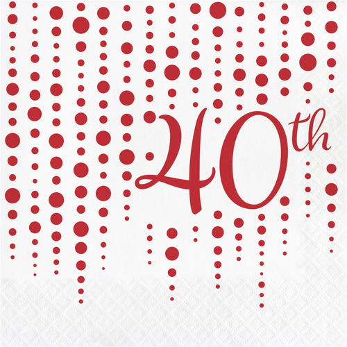 """Club Pack of 192 Red and White """"40th"""" Printed Square 2-Ply Luncheon Napkins 12.75"""" - IMAGE 1"""