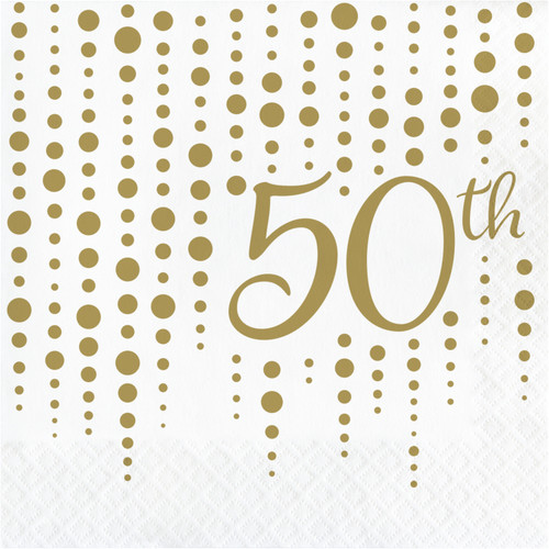 """Club Pack of 192 Gold and White """"50th"""" Printed Square 2-Ply Luncheon Napkins 12.75"""" - IMAGE 1"""