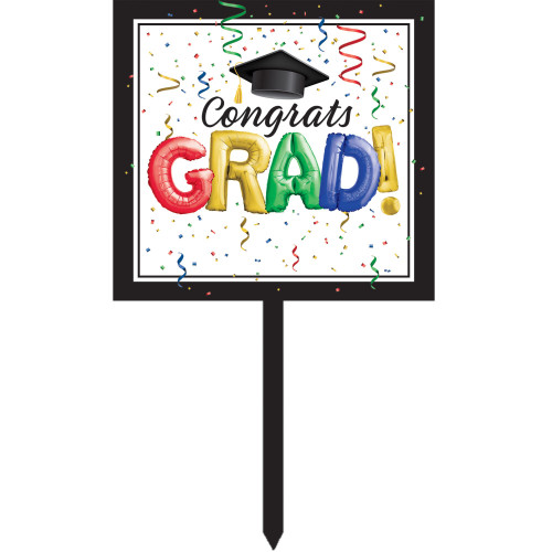 """Pack of 6 Black and White """"Congrats GRAD!"""" Yard Signs 26"""" - IMAGE 1"""