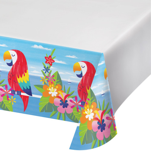 """Club Pack of 12 Blue and Red Lush Luau Rectangular Tablecloths 102"""" - IMAGE 1"""