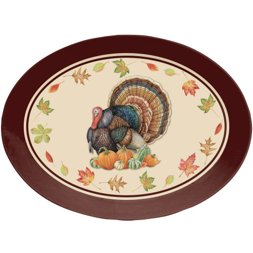 """Club Pack of 12 Brown and Beige Fall Turkey Oval Plates 14"""" - IMAGE 1"""