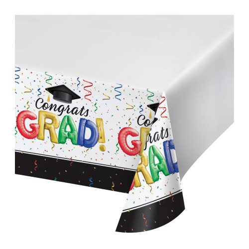 "Club Pack of 12 Black and Red ""Congrats GRAD!"" Rectangular Tablecloths 102"" - IMAGE 1"