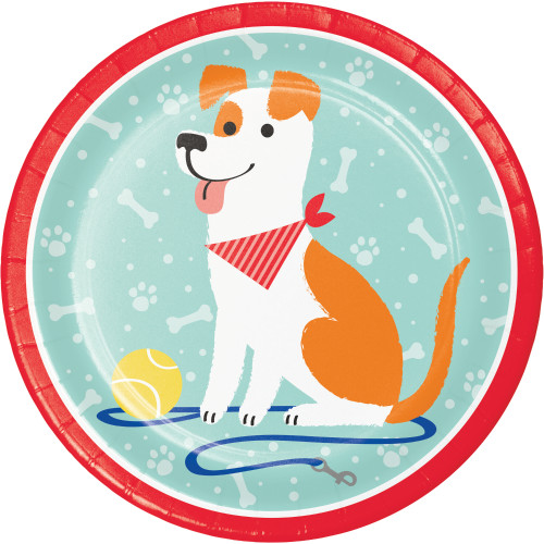 """Club Pack of 96 Red and Blue Dog Party Round Dinner Plates 8.75"""" - IMAGE 1"""
