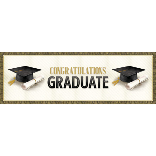 "Pack of 6 Black and Brown Classic Graduation Giant Party Banner 60"" - IMAGE 1"