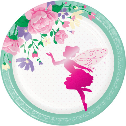 """Club Pack of 96 Green and Pink Floral Fairy Round Plates 6.8"""" - IMAGE 1"""