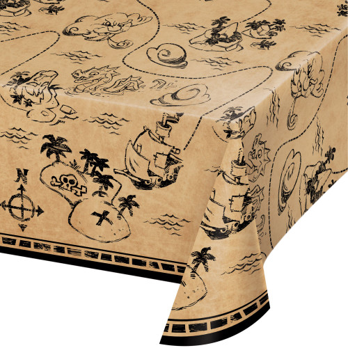 """Pack of 6 Brown and Black Pirate Treasure Rectangular Tablecloths 102"""" - IMAGE 1"""