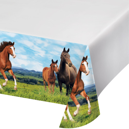 """Pack of 6 Green and Brown Horse and Pony Rectangular Tablecloths 102"""" - IMAGE 1"""