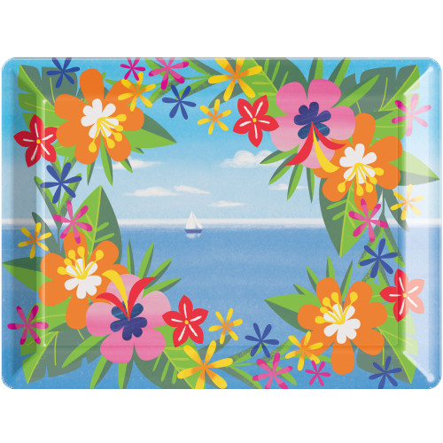 """Club Pack of 12 Blue and Orange Floral Rectangular Trays 14"""" - IMAGE 1"""