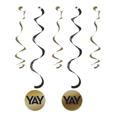 """Club Pack of 60 Black and Gold Sequin Accented Dizzy Danglers 33"""" - IMAGE 1"""