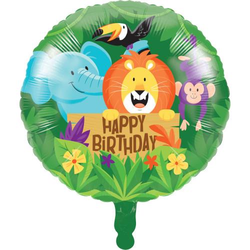 "Pack of 10 Green and Yellow Jungle Safari ""HAPPY BIRTHDAY"" Mylar Balloons 18"" - IMAGE 1"