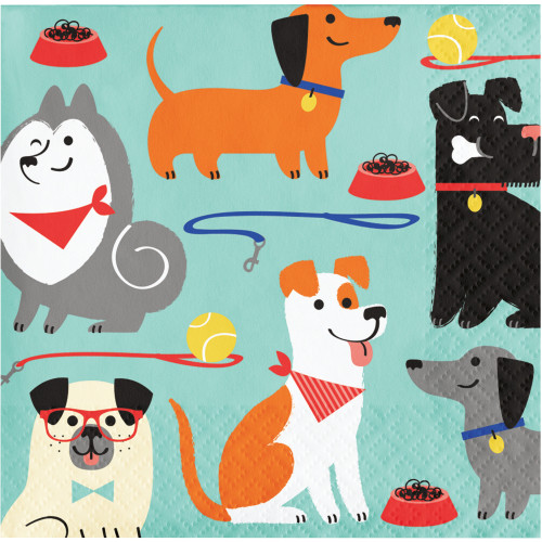 """Club Pack of 192 Green and Orange Dogs Themed 2-Ply Beverage Napkins 5"""" - IMAGE 1"""