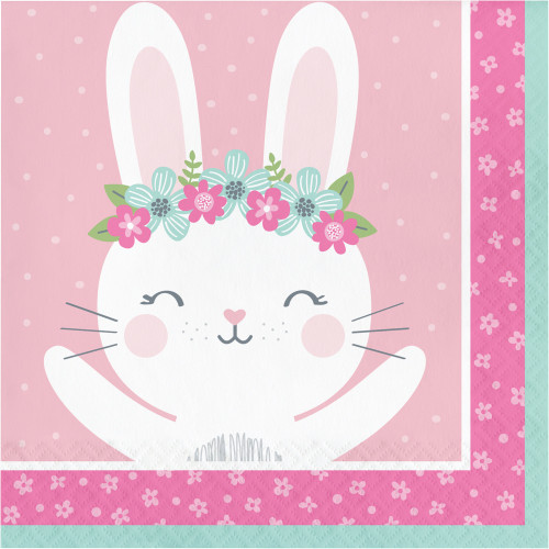 """Club Pack of 192 Pink and White Bunny Luncheon Napkins 6.5"""" - IMAGE 1"""