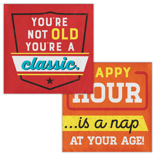 """Club Pack of 192 Red and Orange Age Humor 2-Ply Beverage Napkins 5"""" - IMAGE 1"""